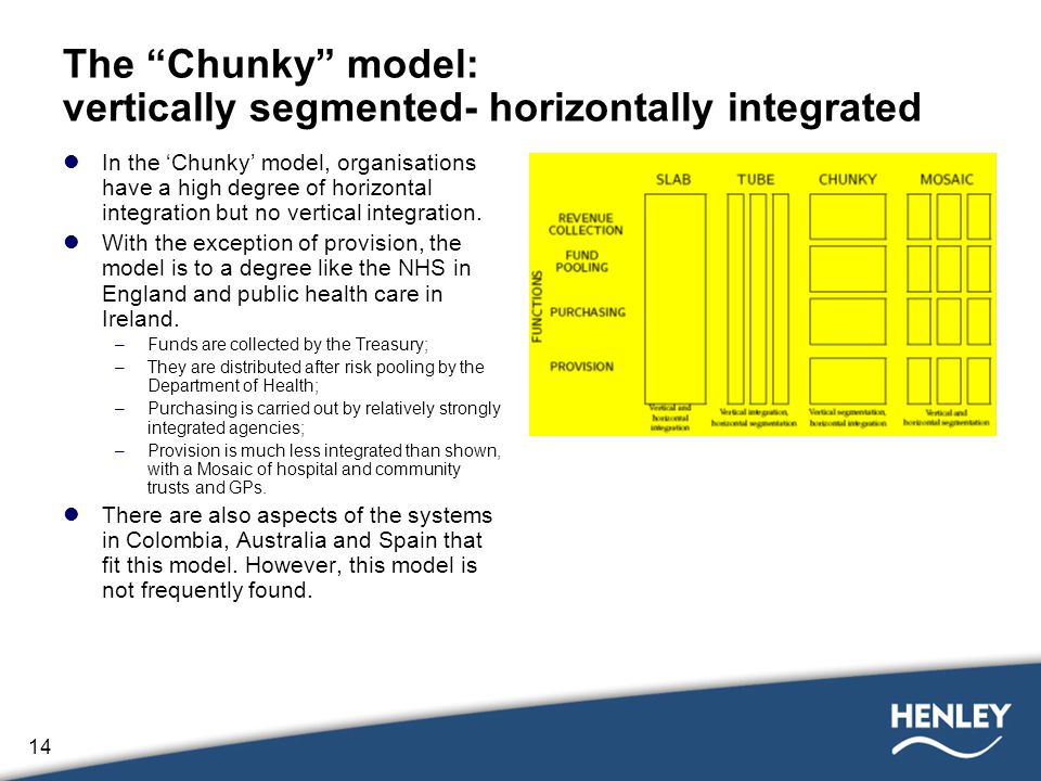 14 The Chunky model: vertically segmented- horizontally integrated In the 'Chunky' model, organisations have a high degree of horizontal integration but no vertical integration.