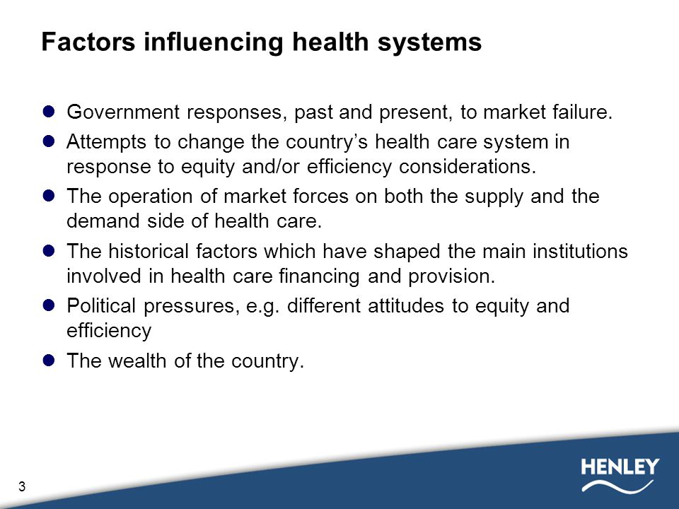 3 Factors influencing health systems Government responses, past and present, to market failure.