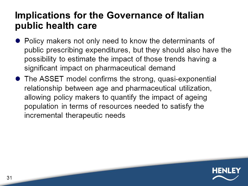 31 Implications for the Governance of Italian public health care Policy makers not only need to know the determinants of public prescribing expenditures, but they should also have the possibility to estimate the impact of those trends having a significant impact on pharmaceutical demand The ASSET model confirms the strong, quasi-exponential relationship between age and pharmaceutical utilization, allowing policy makers to quantify the impact of ageing population in terms of resources needed to satisfy the incremental therapeutic needs