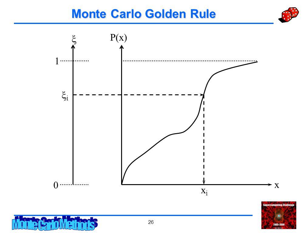 26 Monte Carlo Golden Rule x P(x) 0 1  ii xixi