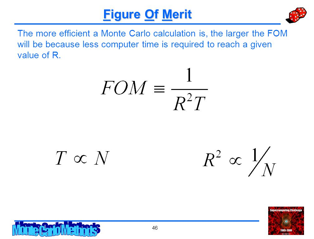 46 Figure Of Merit The more efficient a Monte Carlo calculation is, the larger the FOM will be because less computer time is required to reach a given value of R.