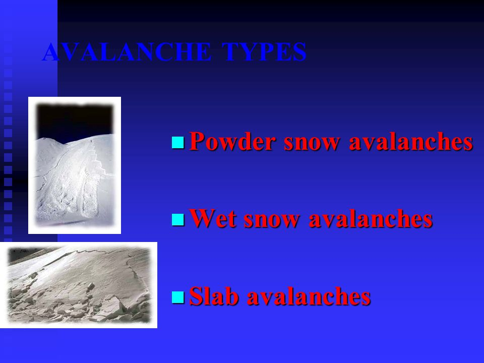AVALANCHE TYPES Powder snow avalanches Wet snow avalanches Slab avalanches