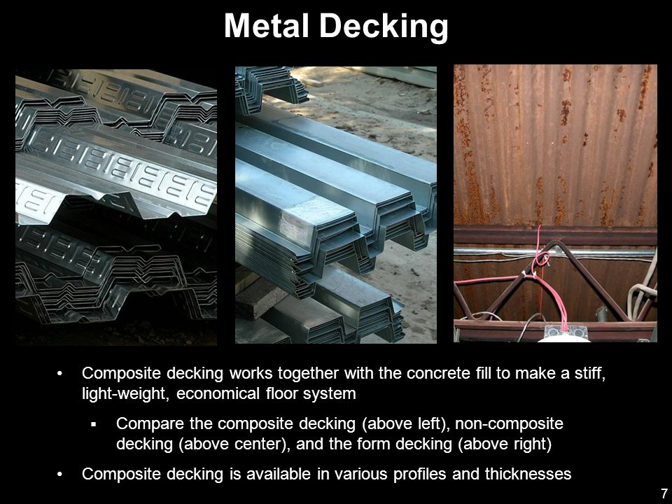 8 Decking with deformed ribs (or embossed decking), as shown, is commonly used The deformations on the ribs allow for a stronger bond between the concrete and the decking (ASCE 2002) Composite Metal Decking
