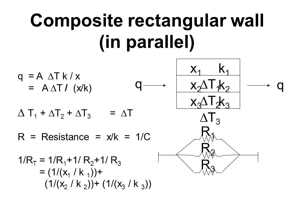 q q R3 R3 R2 R2 R1 R1 x 1 k 1  T 1 x 2 k 2  T 2 x 3 k 3  T 3 q = A  T k / x = A  T / (x/k)  T 1 +  T 2 +  T 3 =  T R = Resistance = x/k = 1/C 1/R T = 1/R 1 +1/ R 2 +1/ R 3 = (1/(x 1 / k 1 ))+ (1/(x 2 / k 2 ))+ (1/(x 3 / k 3 )) Composite rectangular wall (in parallel)