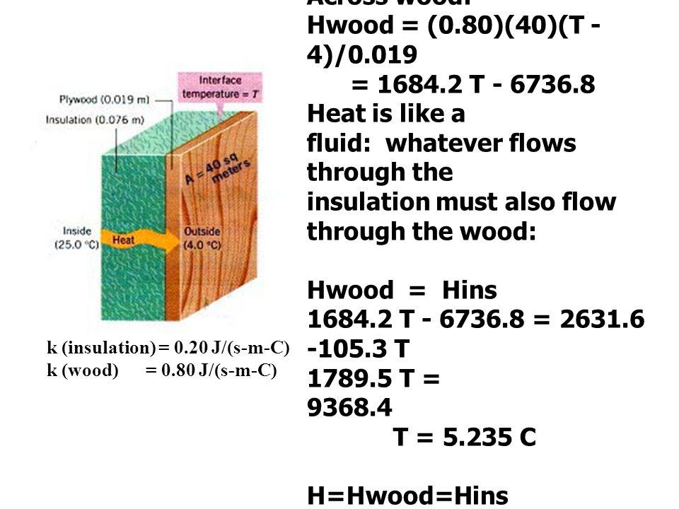 k (insulation) = 0.20 J/(s-m-C) k (wood) = 0.80 J/(s-m-C) Across insulation: Hins = (0.20)(40)(25 - T)/0.076 = 2631.6 -105.3 T Across wood: Hwood = (0.80)(40)(T - 4)/0.019 = 1684.2 T - 6736.8 Heat is like a fluid: whatever flows through the insulation must also flow through the wood: Hwood = Hins 1684.2 T - 6736.8 = 2631.6 -105.3 T 1789.5 T = 9368.4 T = 5.235 C H=Hwood=Hins H= 1684.2 (5.235) - 6736.8 = 2080 J/s H= 2631.6 - 105.3 (5.235) = 2080 J/s
