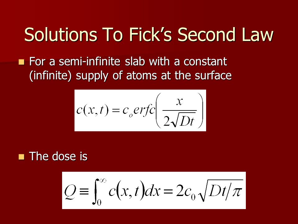 Solutions To Fick's Second Law Complimentary error function (erfc) is defined as erfc(x) = 1 - erf(x) Complimentary error function (erfc) is defined as erfc(x) = 1 - erf(x) The error function is defined as The error function is defined as –This is a tabulated function.