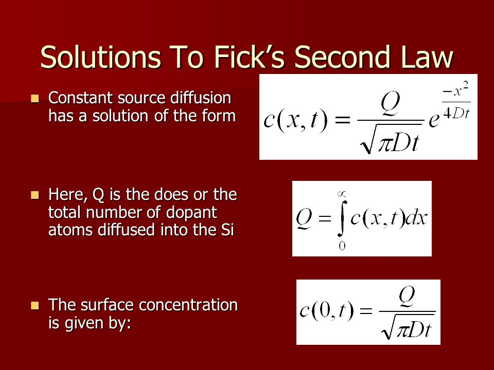 Successive Diffusions The effective Dt product is given by The effective Dt product is given by D i and t i are the diffusion coefficient and time for i th step –Assuming that the diffusion constant is only a function of temperature.