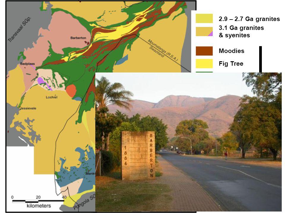 2.9 – 2.7 Ga granites 3.1 Ga granites & syenites Moodies Fig Tree Onverwacht Ca.