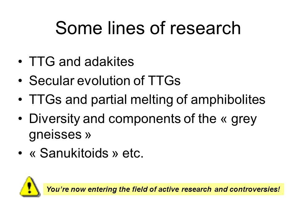 Some lines of research TTG and adakites Secular evolution of TTGs TTGs and partial melting of amphibolites Diversity and components of the « grey gneisses » « Sanukitoids » etc.
