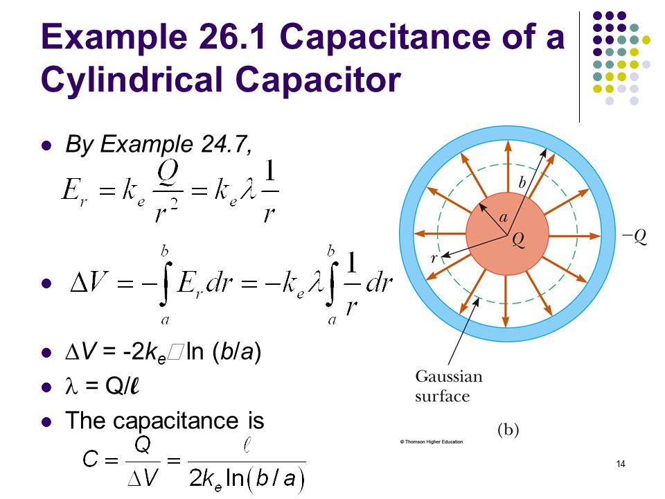 14 Example 26.1 Capacitance of a Cylindrical Capacitor By Example 24.7,  V = -2k e  ln (b/a) = Q/ l The capacitance is