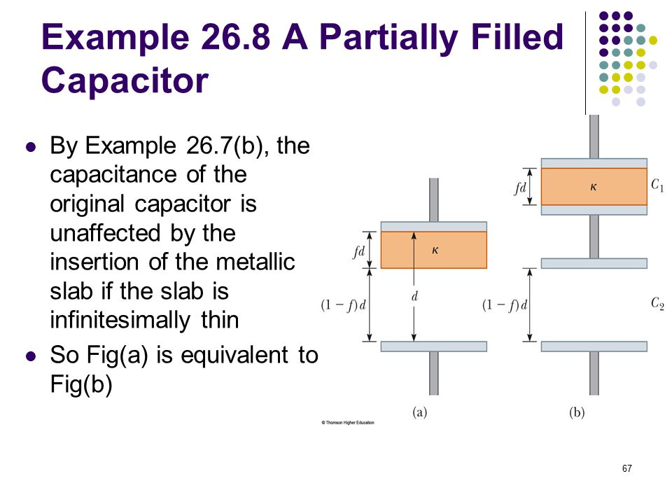 67 Example 26.8 A Partially Filled Capacitor By Example 26.7(b), the capacitance of the original capacitor is unaffected by the insertion of the metal