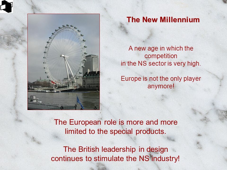 The New Millennium A new age in which the competition in the NS sector is very high. Europe is not the only player anymore! The European role is more