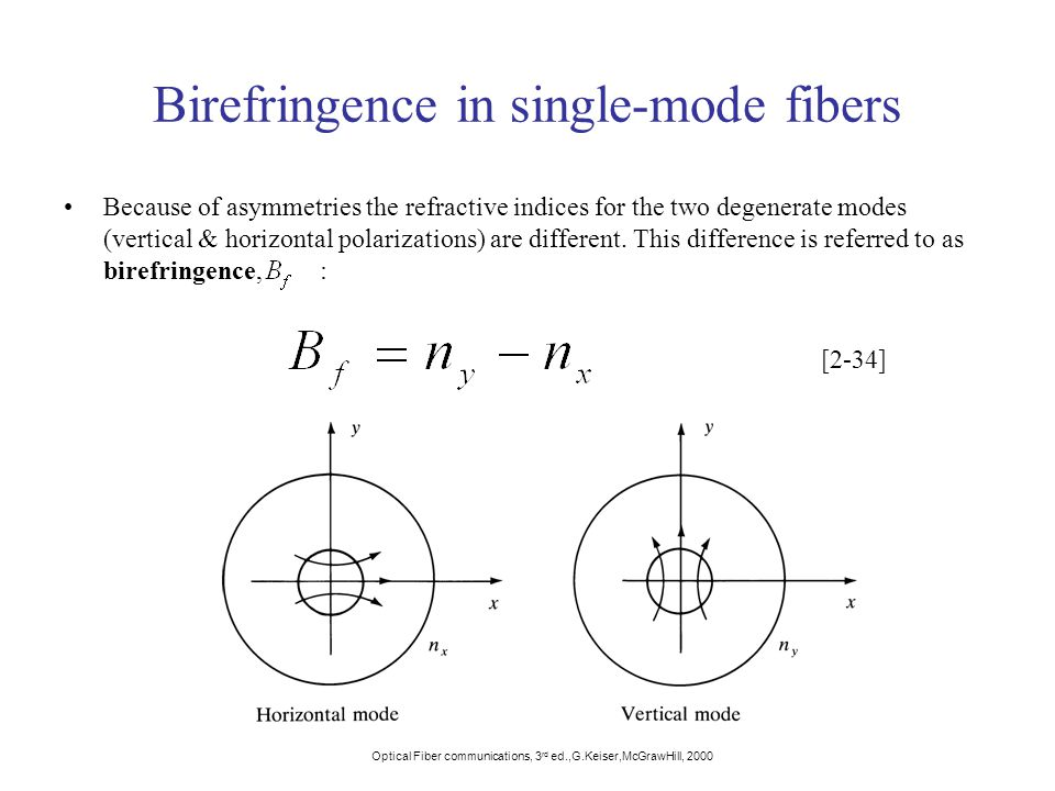 Birefringence in single-mode fibers Because of asymmetries the refractive indices for the two degenerate modes (vertical & horizontal polarizations) are different.