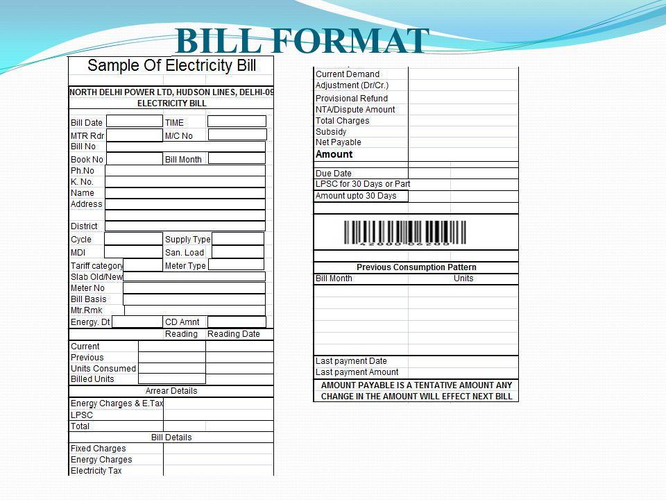 BILL FORMAT