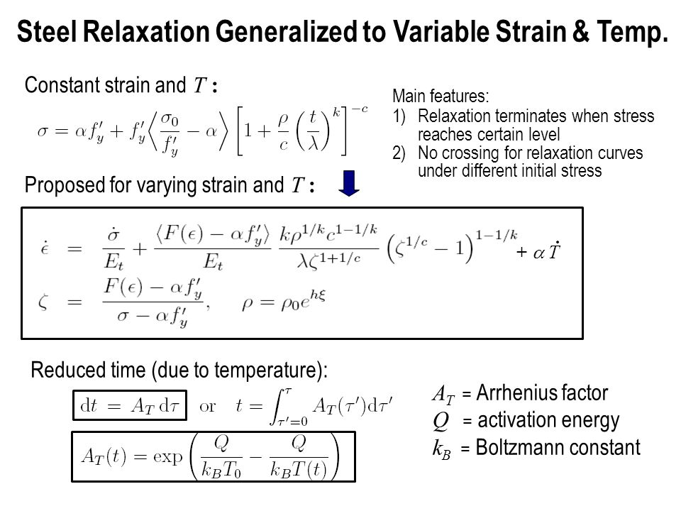 A T = Arrhenius factor Q = activation energy k B = Boltzmann constant Reduced time (due to temperature): Steel Relaxation Generalized to Variable Strain & Temp.