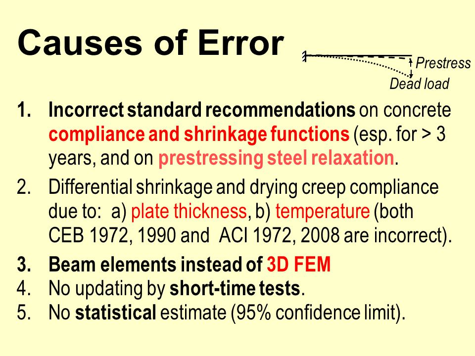 Causes of Error 1.Incorrect standard recommendations on concrete compliance and shrinkage functions (esp.