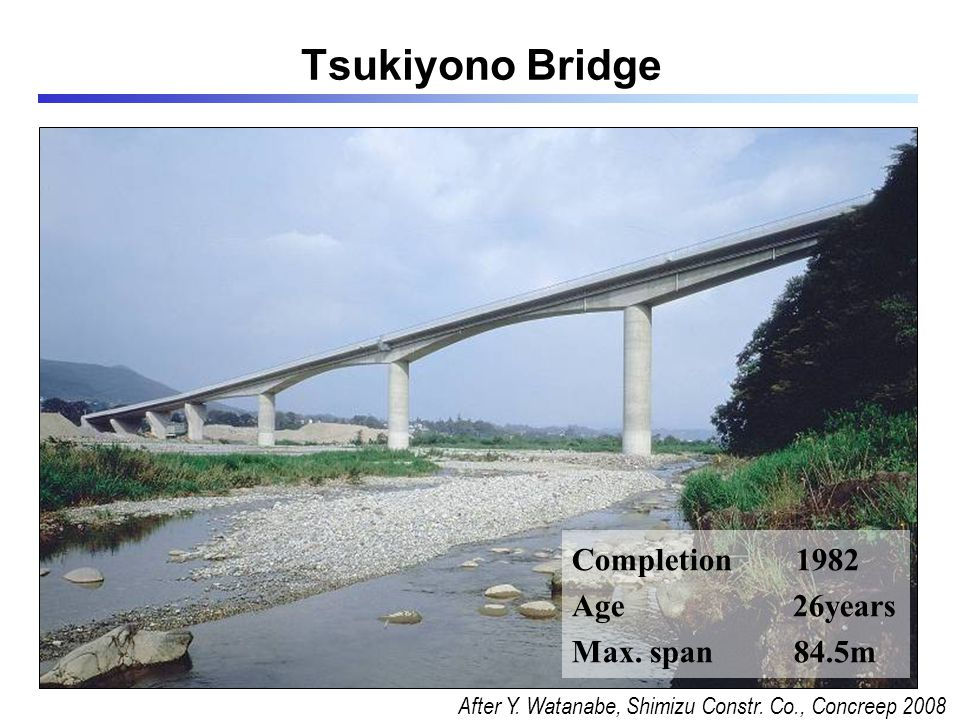 Completion 1982 Age 26years Max.span 84.5m Tsukiyono Bridge After Y.