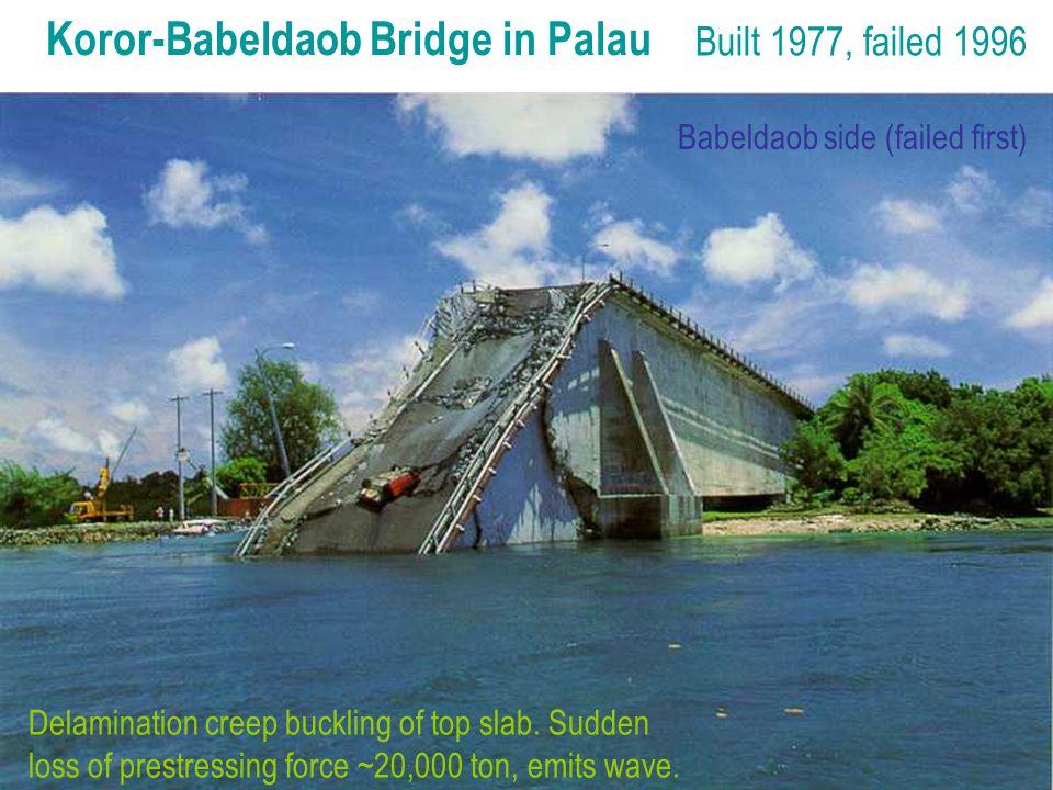 Koror-Babeldaob Bridge in Palau Built 1977, failed 1996 Delamination creep buckling of top slab.