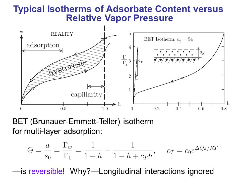 BET (Brunauer-Emmett-Teller) isotherm for multi-layer adsorption: —is reversible.