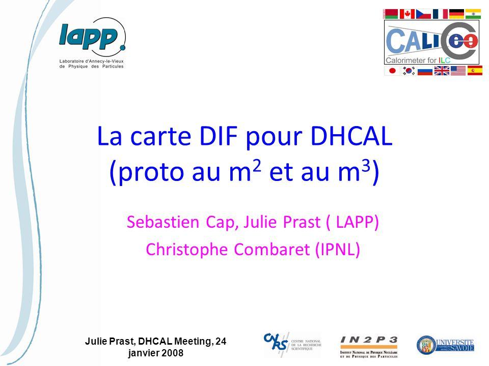 Julie Prast, DHCAL Meeting, 24 janvier 2008 La carte DIF pour DHCAL (proto au m 2 et au m 3 ) Sebastien Cap, Julie Prast ( LAPP) Christophe Combaret (IPNL)