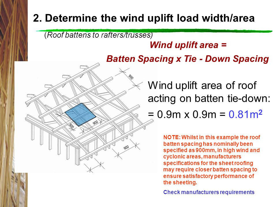 2. Determine the wind uplift load width/area (Roof battens to rafters/trusses) Wind uplift area of roof acting on batten tie-down: = 0.9m x 0.9m = 0.8