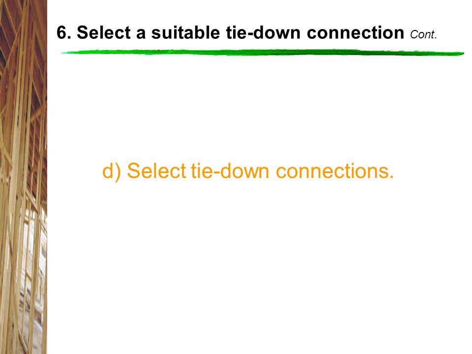 d) Select tie-down connections. 6. Select a suitable tie-down connection Cont.