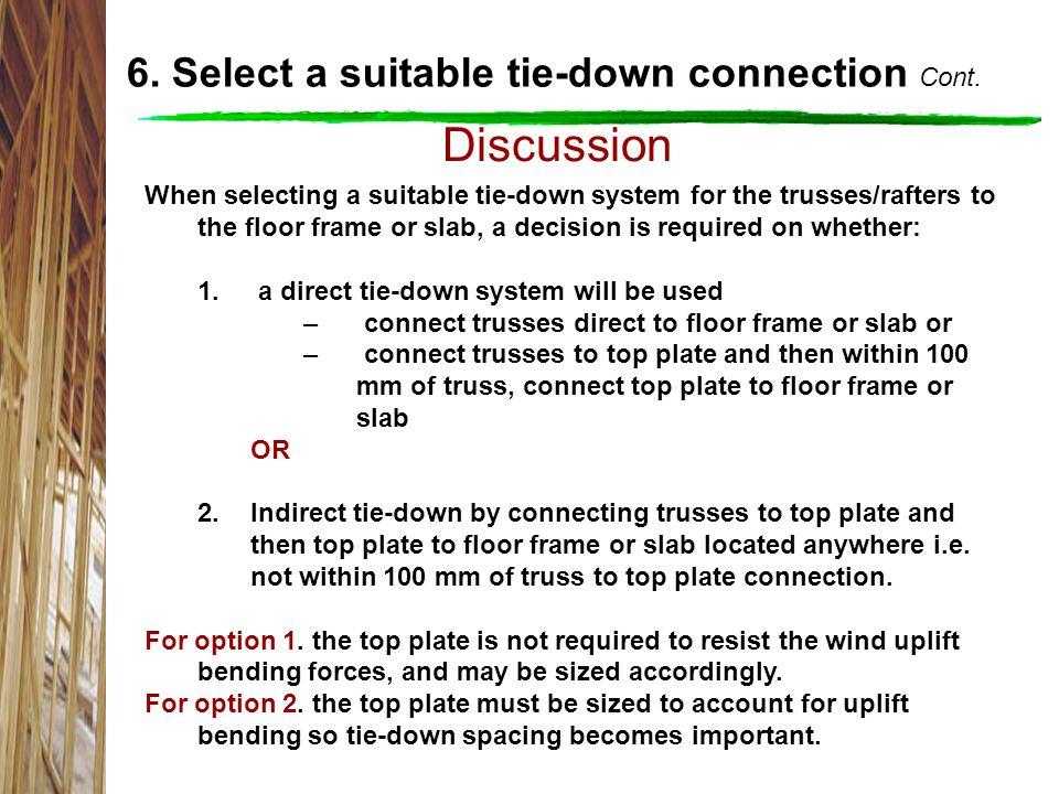 Discussion 6.Select a suitable tie-down connection Cont.