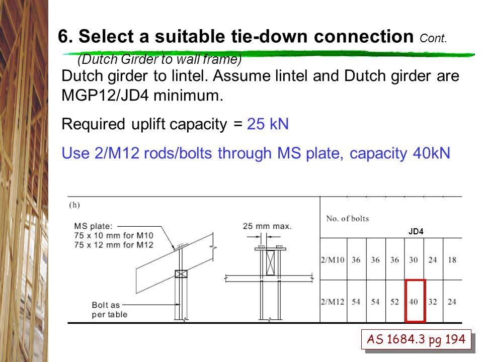 AS 1684.3 pg 194 Dutch girder to lintel.Assume lintel and Dutch girder are MGP12/JD4 minimum.