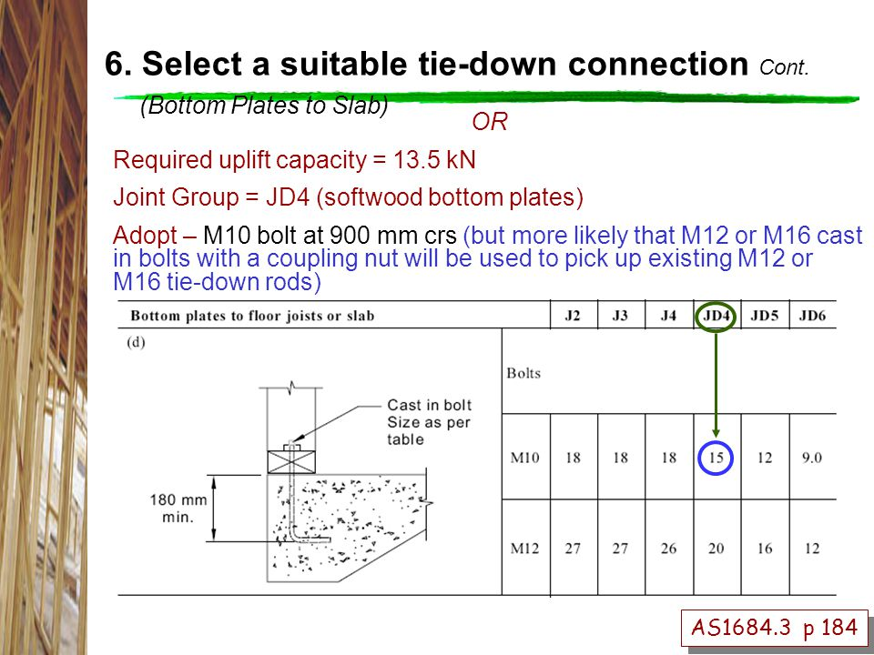 OR Required uplift capacity = 13.5 kN Joint Group = JD4 (softwood bottom plates) Adopt – M10 bolt at 900 mm crs (but more likely that M12 or M16 cast in bolts with a coupling nut will be used to pick up existing M12 or M16 tie-down rods) AS1684.3 p 184 6.