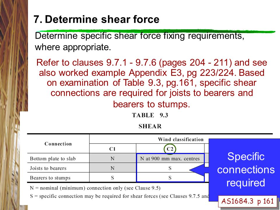 Determine specific shear force fixing requirements, where appropriate.