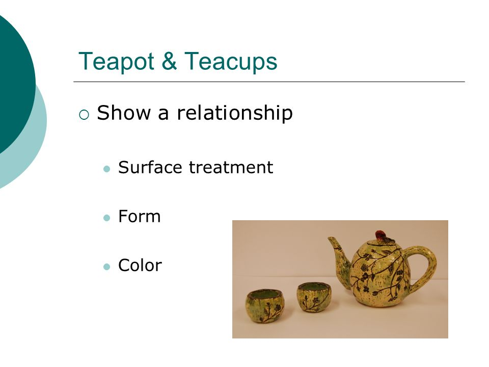 Teapot & Teacups  Show a relationship Surface treatment Form Color