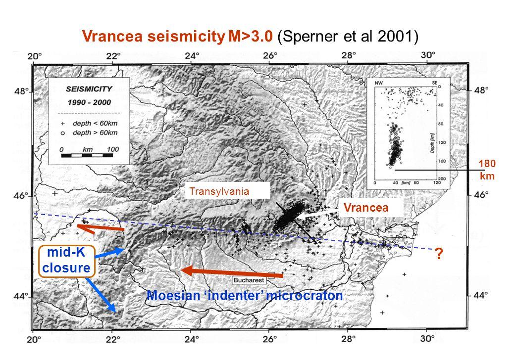Vrancea seismicity M>3.0 (Sperner et al 2001) Vrancea seismicity and shear line.