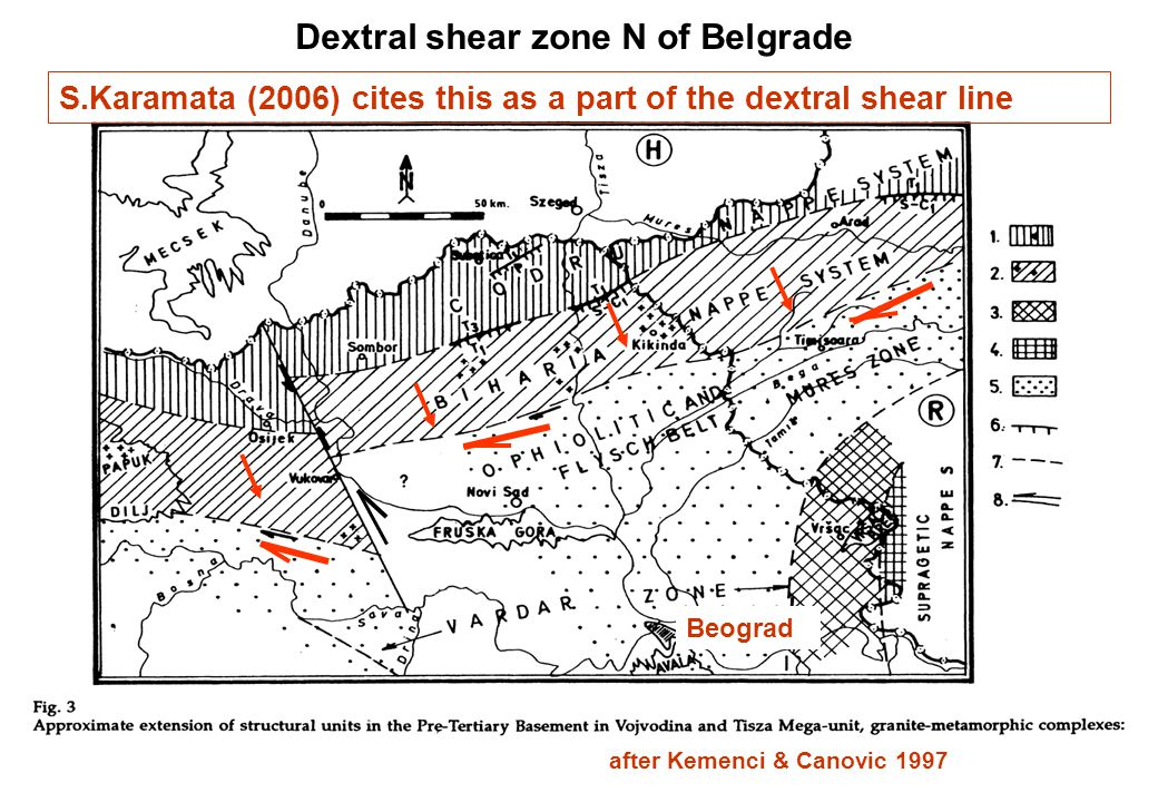S.Karamata (2006) cites this as a part of the dextral shear line after Kemenci & Canovic 1997 Beograd Dextral shear zone N of Belgrade