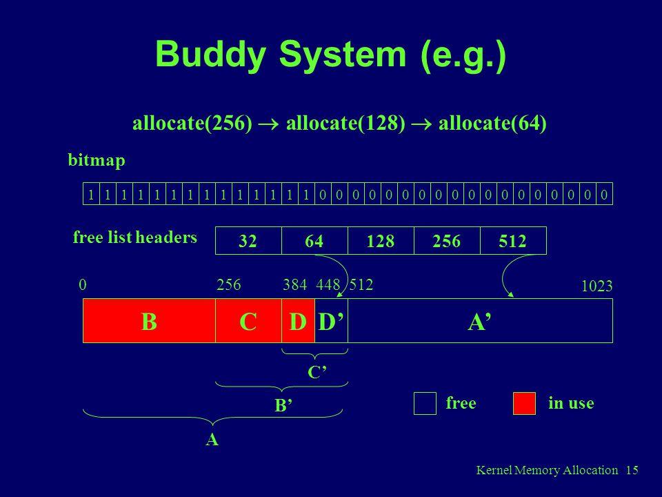 Kernel Memory Allocation 15 Buddy System (e.g.) 11111111111111000000000000000000 3264128256512 bitmap free list headers BCDD'A' 0256384448512 C' B' A freein use allocate(256)  allocate(128)  allocate(64) 1023