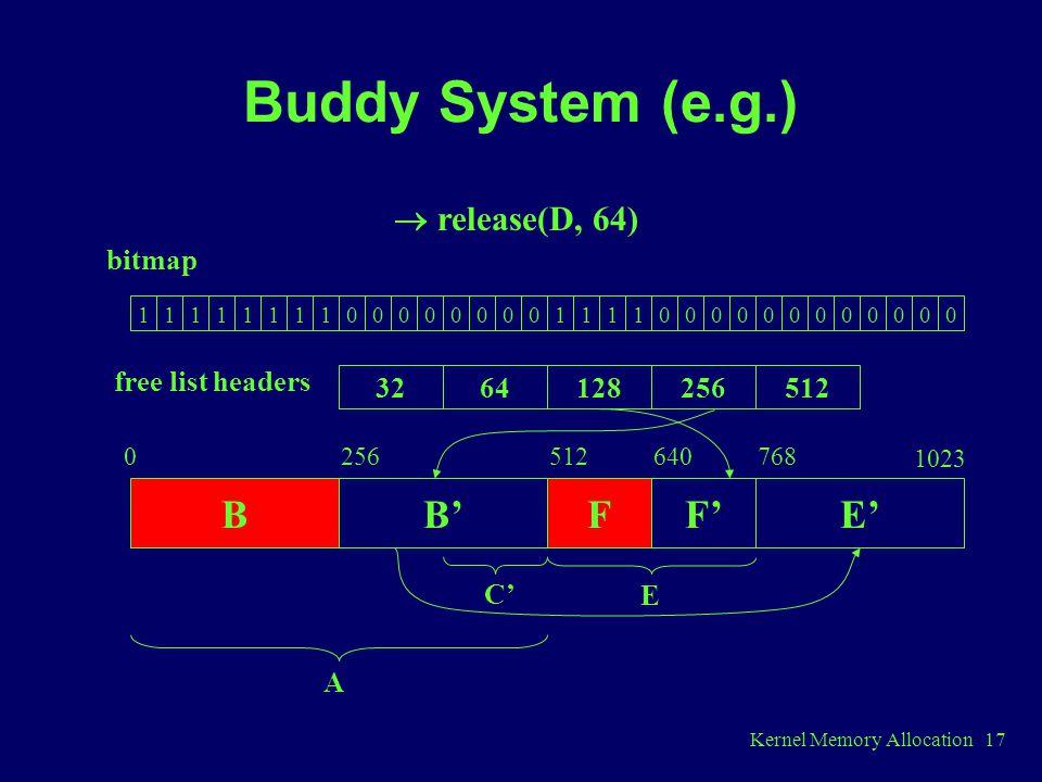 Kernel Memory Allocation 17 Buddy System (e.g.) 11111111000000001111000000000000 3264128256512 bitmap free list headers BB'F 0256512 C' A  release(D, 64) F'E' 640768 1023 E