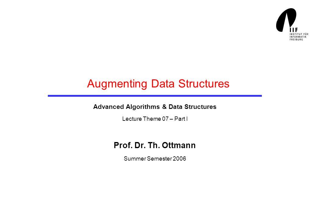 Augmenting Data Structures Advanced Algorithms & Data Structures Lecture Theme 07 – Part I Prof.