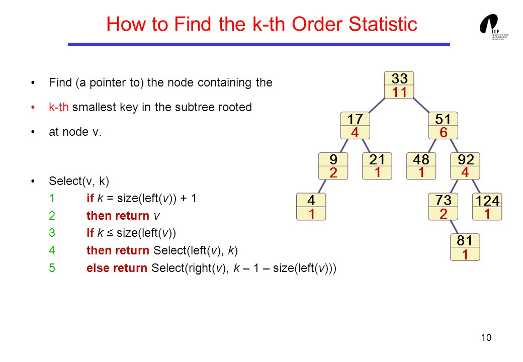 10 How to Find the k-th Order Statistic Find (a pointer to) the node containing the k-th smallest key in the subtree rooted at node v.