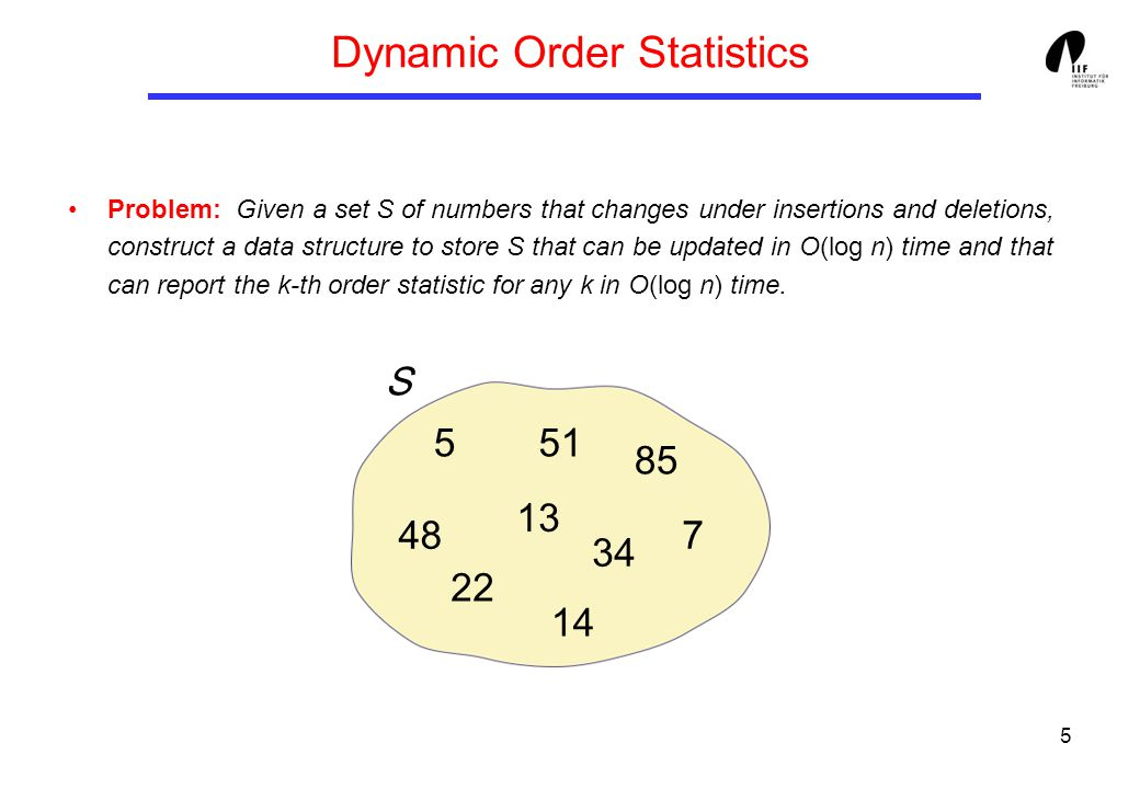5 Problem: Given a set S of numbers that changes under insertions and deletions, construct a data structure to store S that can be updated in O(log n) time and that can report the k-th order statistic for any k in O(log n) time.