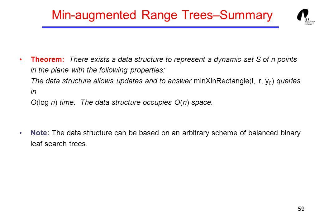 59 Min-augmented Range Trees–Summary Theorem: There exists a data structure to represent a dynamic set S of n points in the plane with the following properties: The data structure allows updates and to answer minXinRectangle(l, r, y 0 ) queries in O(log n) time.