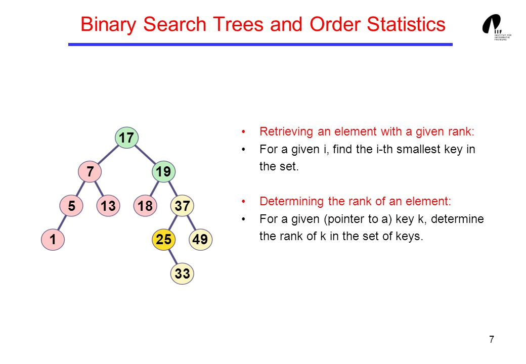 7 Binary Search Trees and Order Statistics 1 513 7 17 19 37 25 33 49 18 Retrieving an element with a given rank: For a given i, find the i-th smallest key in the set.