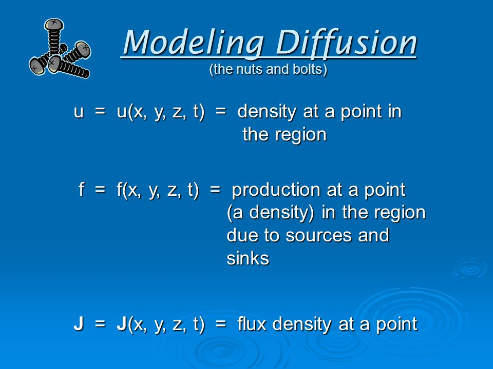 Modeling Diffusion (the nuts and bolts) u = u(x, y, z, t) = density at a point in the region f = f(x, y, z, t) = production at a point (a density) in the region due to sources and sinks f = f(x, y, z, t) = production at a point (a density) in the region due to sources and sinks J = J(x, y, z, t) = flux density at a point