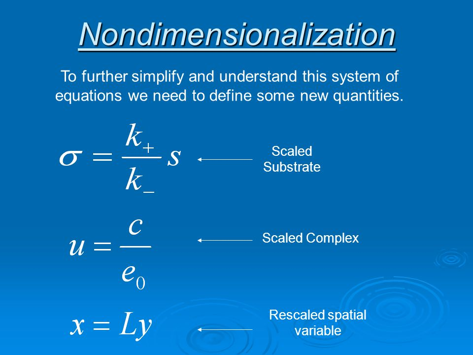Nondimensionalization To further simplify and understand this system of equations we need to define some new quantities.