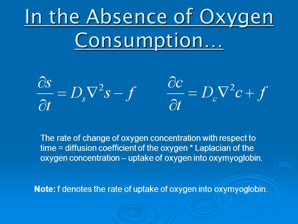 In the Absence of Oxygen Consumption… The rate of change of oxygen concentration with respect to time = diffusion coefficient of the oxygen * Laplacian of the oxygen concentration – uptake of oxygen into oxymyoglobin.