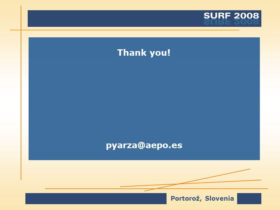 Portorož, Slovenia Thank you! pyarza@aepo.es