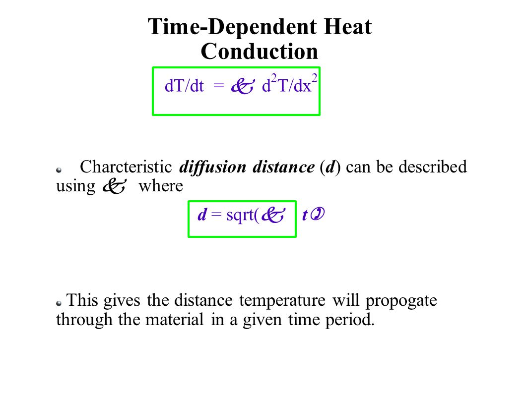 Time-Dependent Heat Conduction dT/dt =  d 2 T/dx 2  Charcteristic diffusion distance (d) can be described using  where This gives the distance temperature will propogate through the material in a given time period.