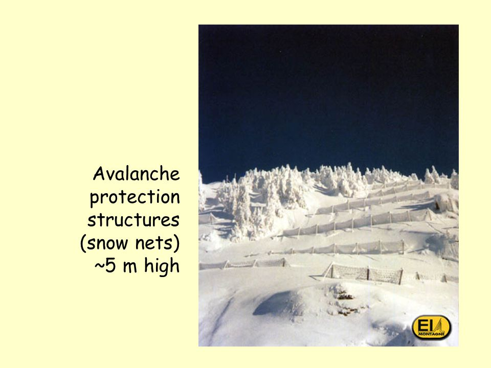 Protecting settlements In Switzerland and some parts of US 'red zones' have avalanche return intervals 30 kPa) <300 yrs. Building is prohibited in the