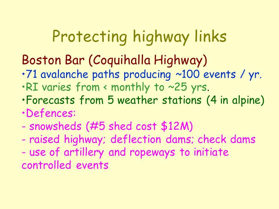 Protecting transportation corridors: e.g Coquihalla Hwy.