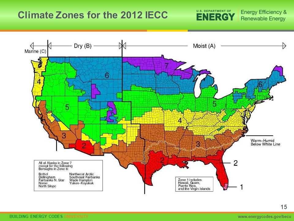 BUILDING ENERGY CODES UNIVERSITYwww.energycodes.gov/becu Climate Zones for the 2012 IECC 15