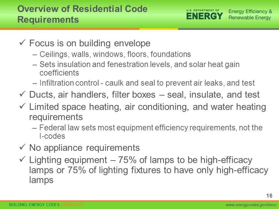 BUILDING ENERGY CODES UNIVERSITYwww.energycodes.gov/becu Focus is on building envelope –Ceilings, walls, windows, floors, foundations –Sets insulation