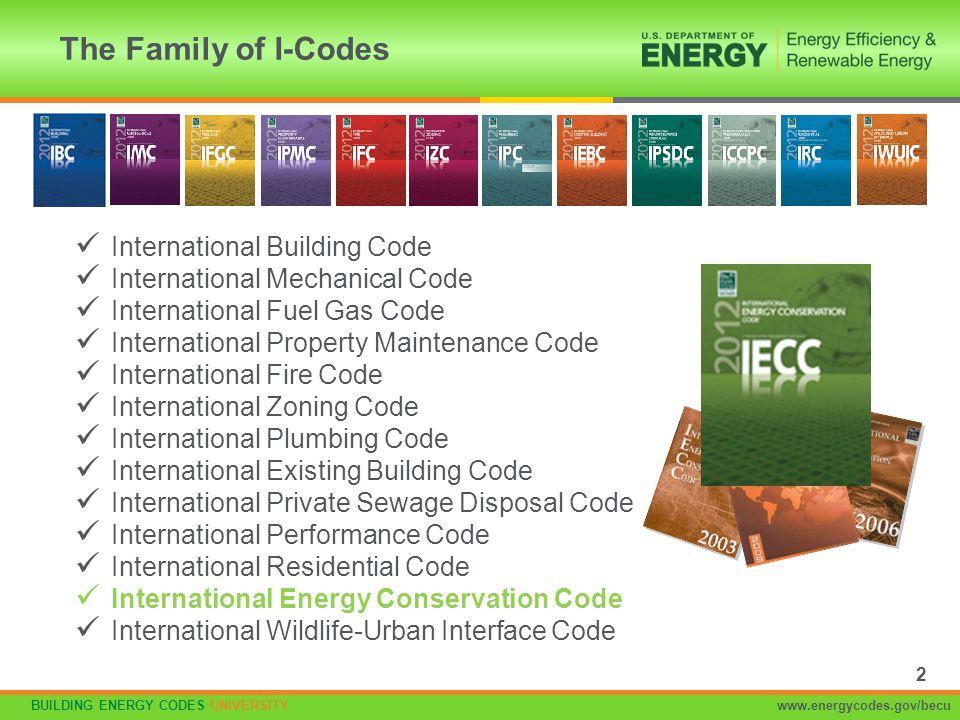 BUILDING ENERGY CODES UNIVERSITYwww.energycodes.gov/becu The Family of I-Codes International Building Code International Mechanical Code International